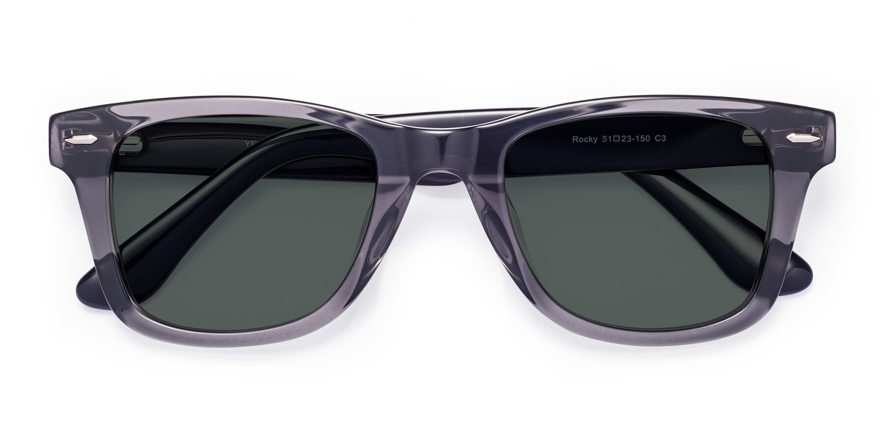 Folded Front of Rocky in Transprent Grey with Gray Polarized Lenses