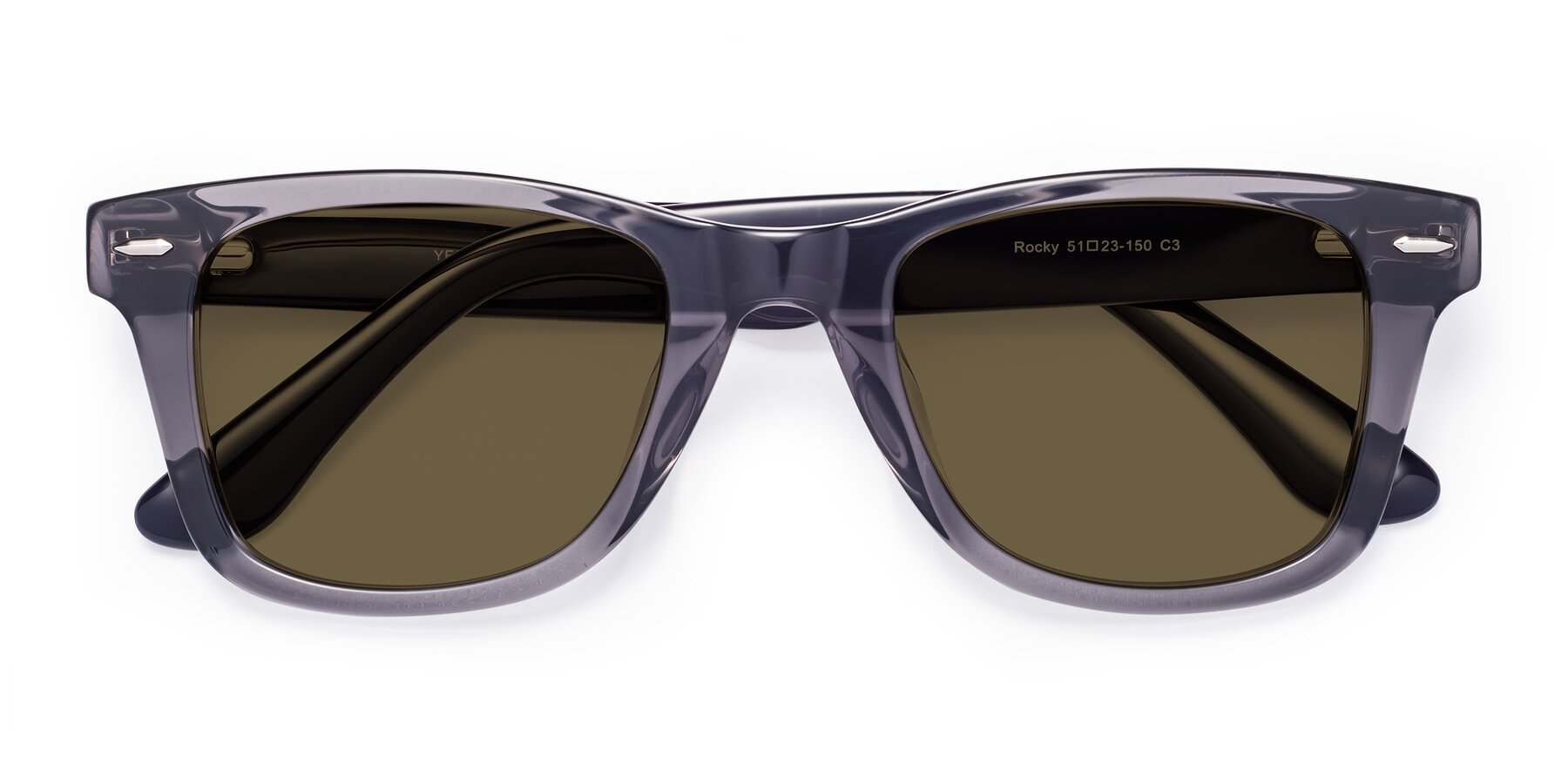 Folded Front of Rocky in Transprent Grey with Brown Polarized Lenses