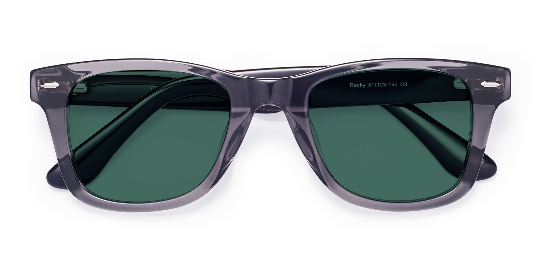 Folded Front of Rocky in Transprent Grey with Green Polarized Lenses