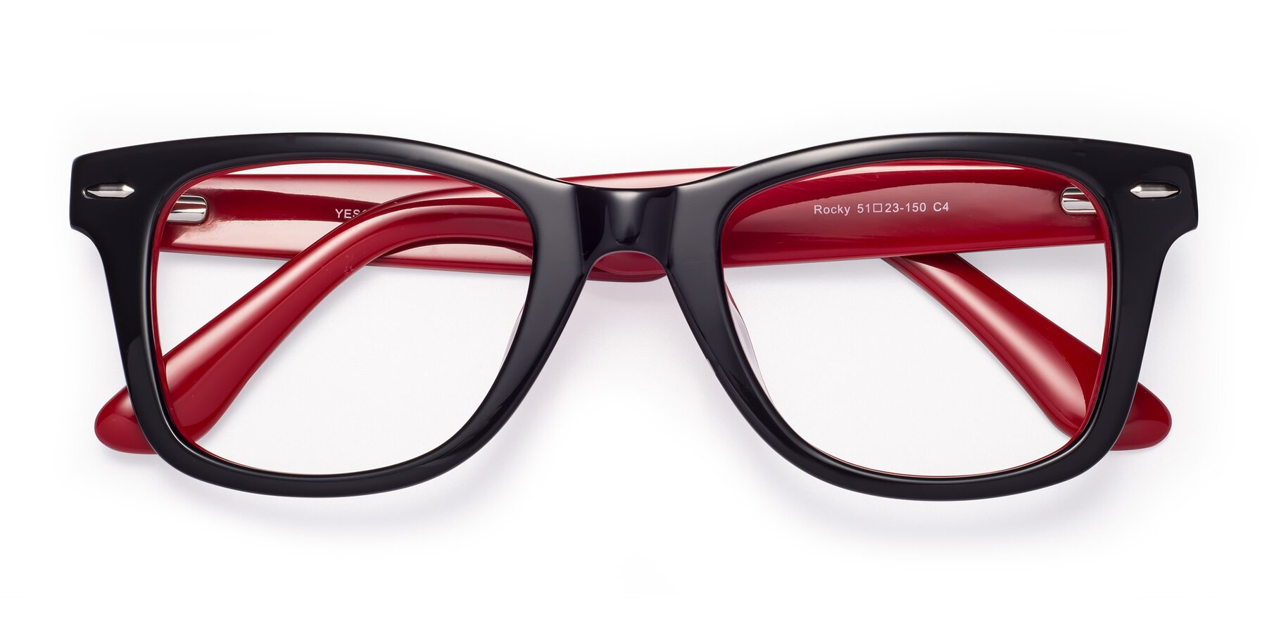 Folded Front of Rocky in Black-Wine with Clear Eyeglass Lenses