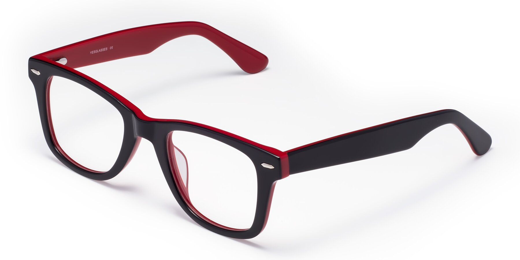 Angle of Rocky in Black-Wine with Clear Eyeglass Lenses