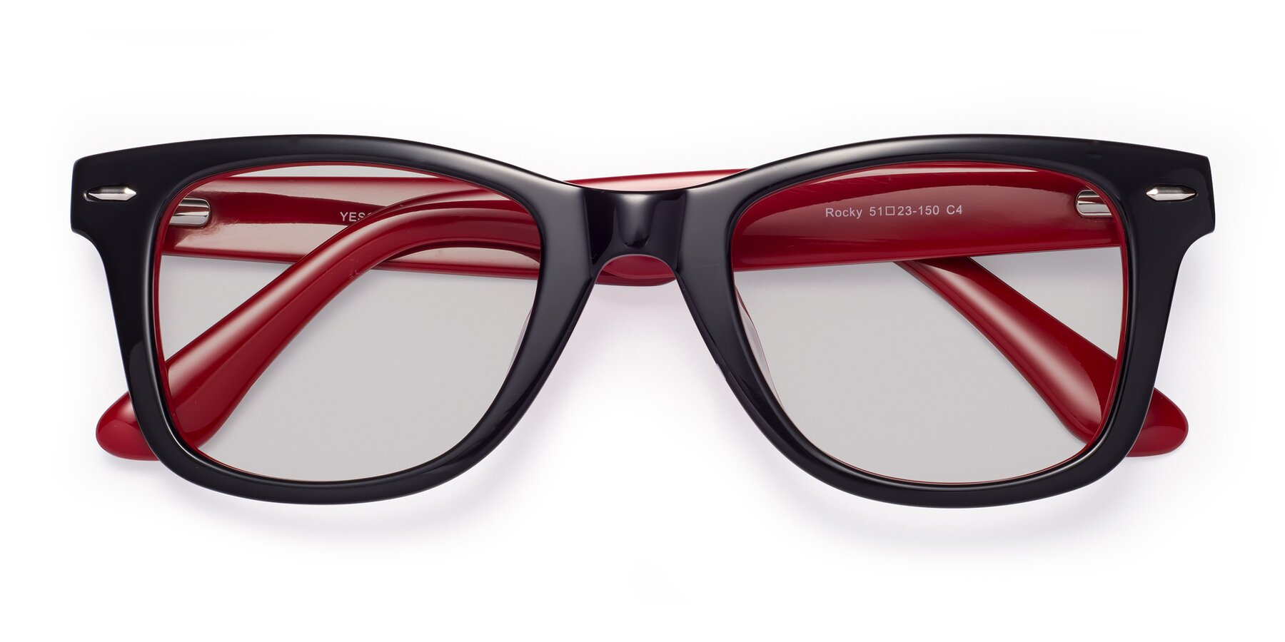 Folded Front of Rocky in Black-Wine with Light Gray Tinted Lenses