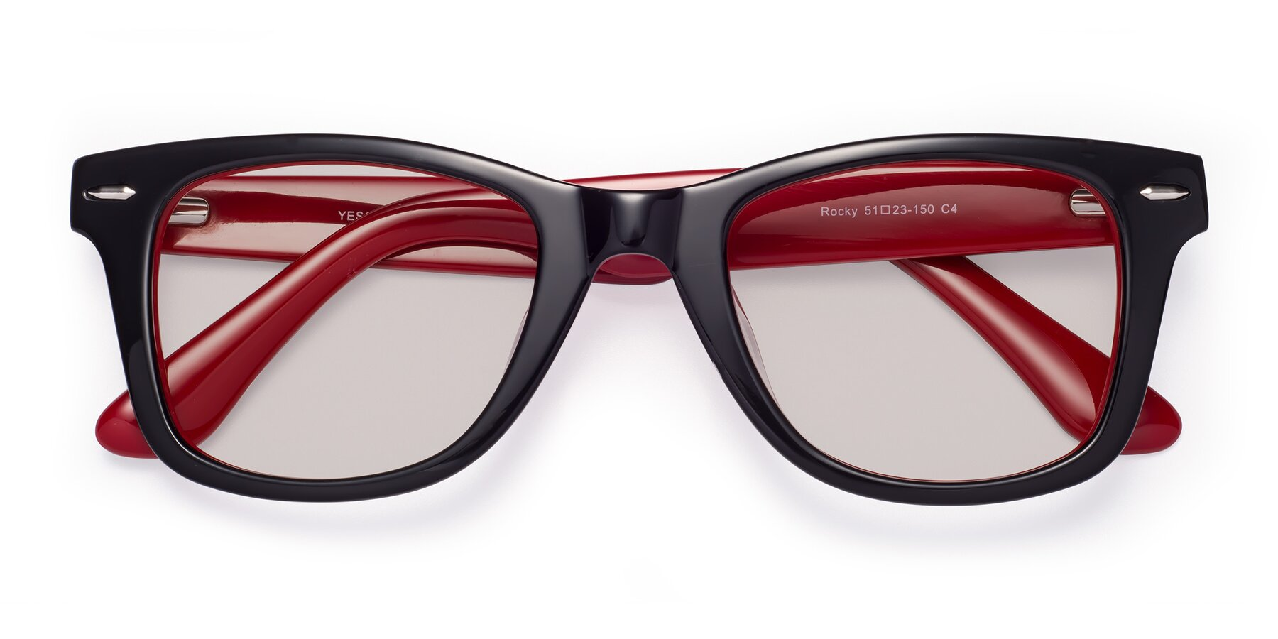 Folded Front of Rocky in Black-Wine with Light Brown Tinted Lenses