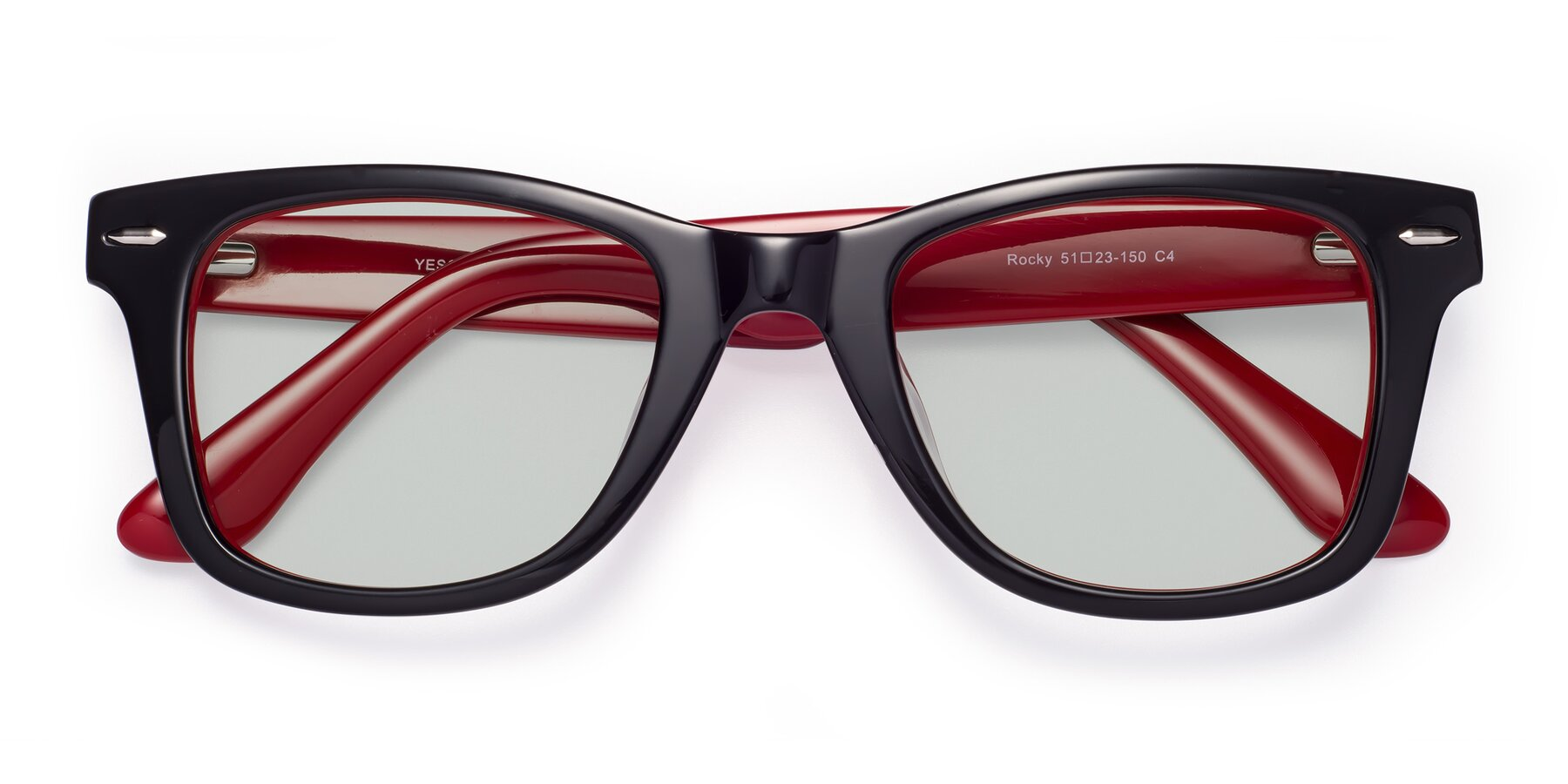 Folded Front of Rocky in Black-Wine with Light Green Tinted Lenses