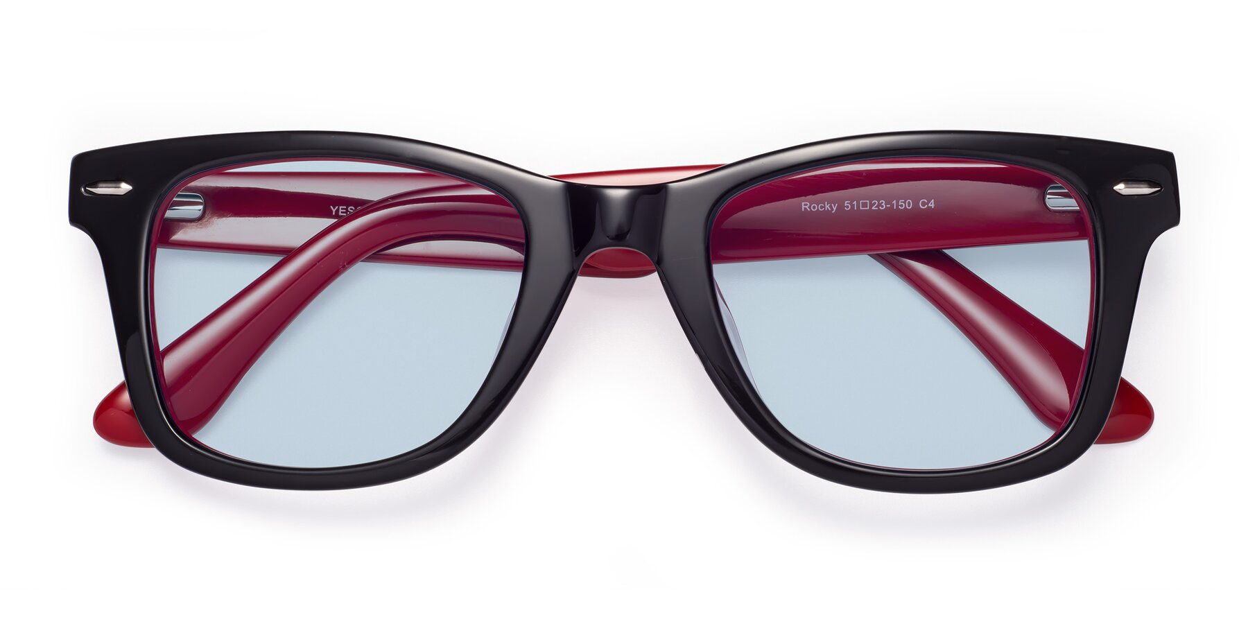 Folded Front of Rocky in Black-Wine with Light Blue Tinted Lenses