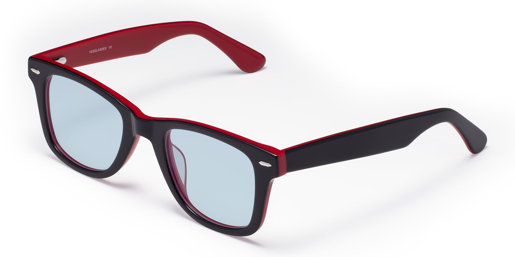 Angle of Rocky in Black-Wine with Light Blue Tinted Lenses