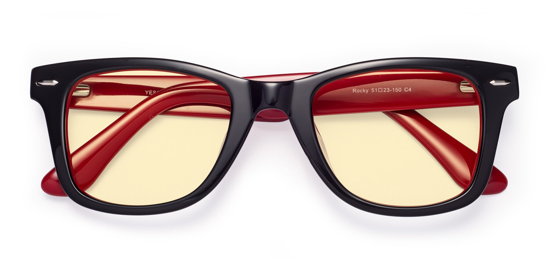 Folded Front of Rocky in Black-Wine with Light Yellow Tinted Lenses