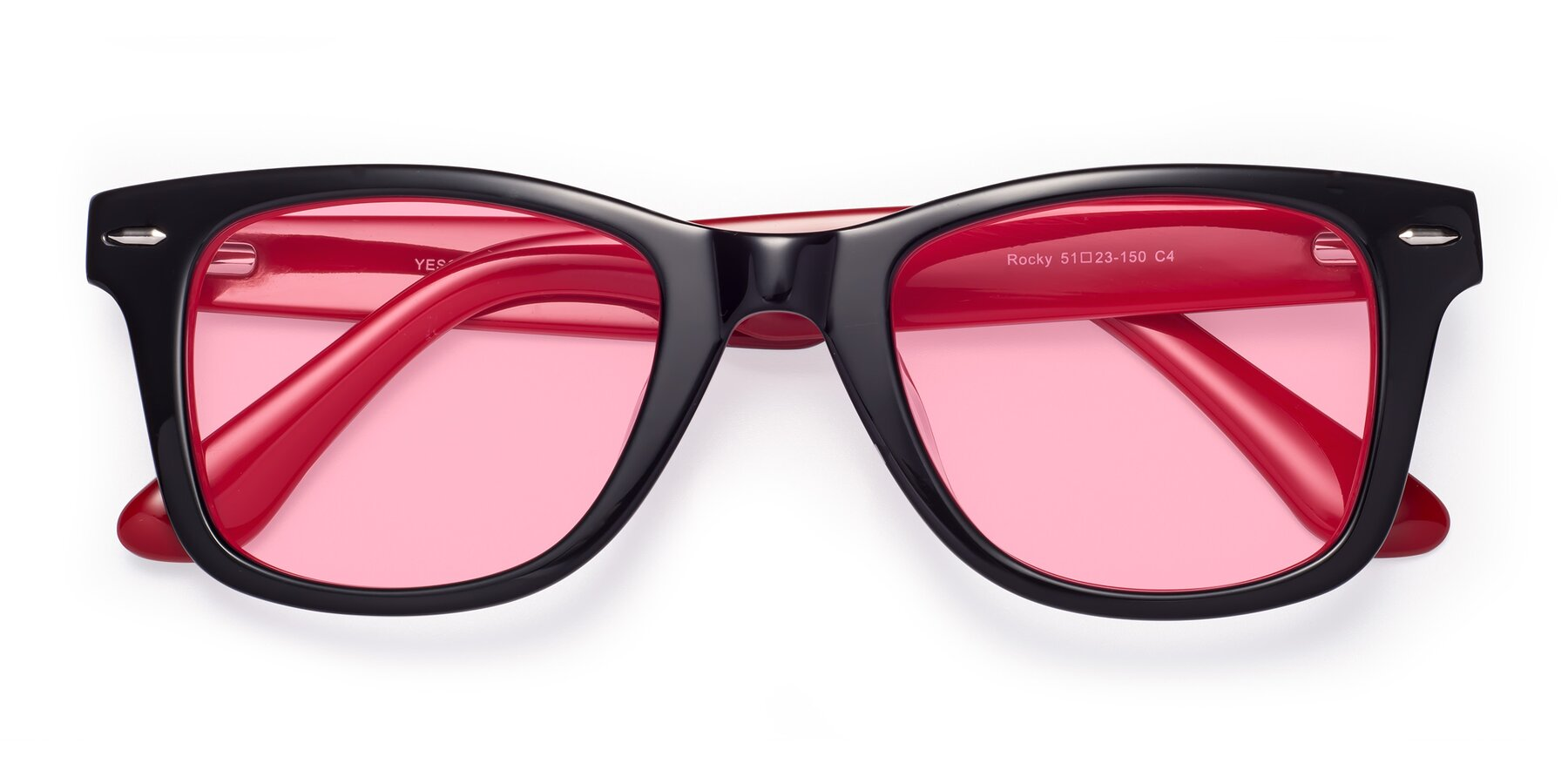 Folded Front of Rocky in Black-Wine with Medium Pink Tinted Lenses