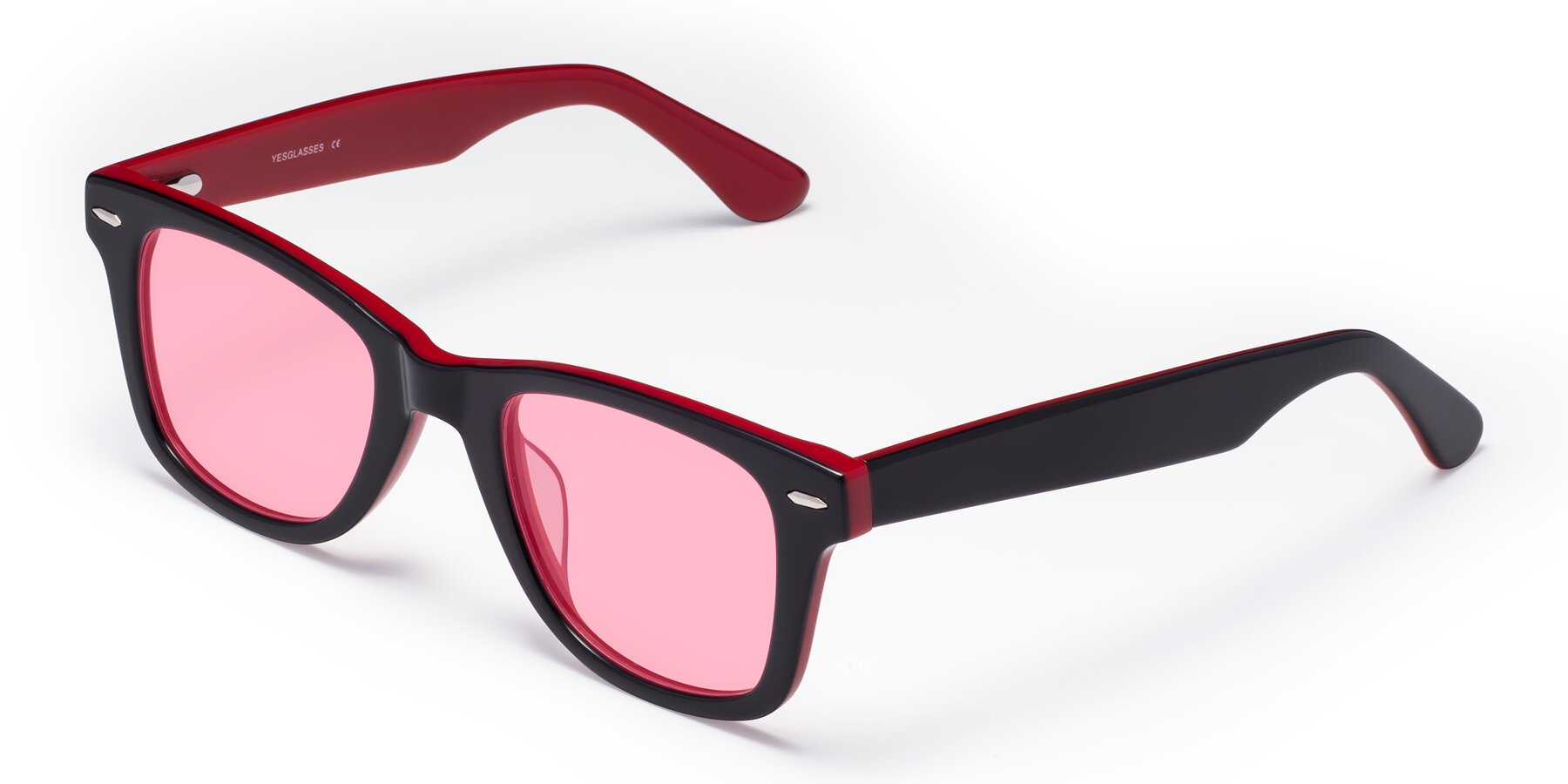 Angle of Rocky in Black-Wine with Medium Pink Tinted Lenses
