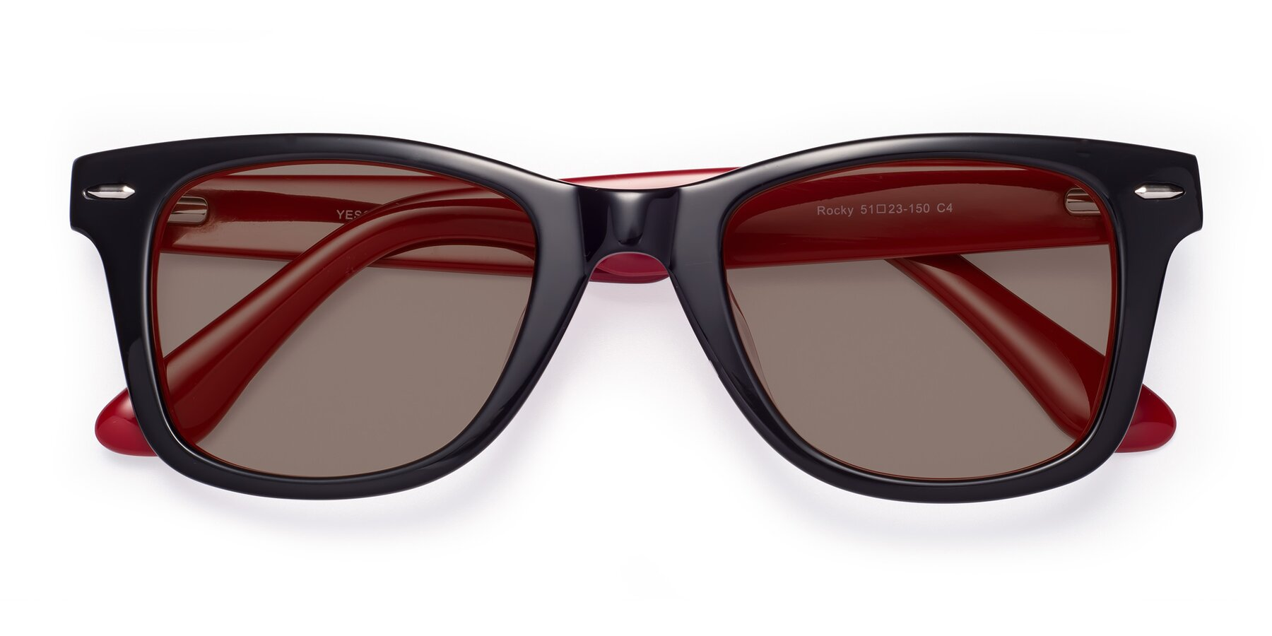 Folded Front of Rocky in Black-Wine with Medium Brown Tinted Lenses
