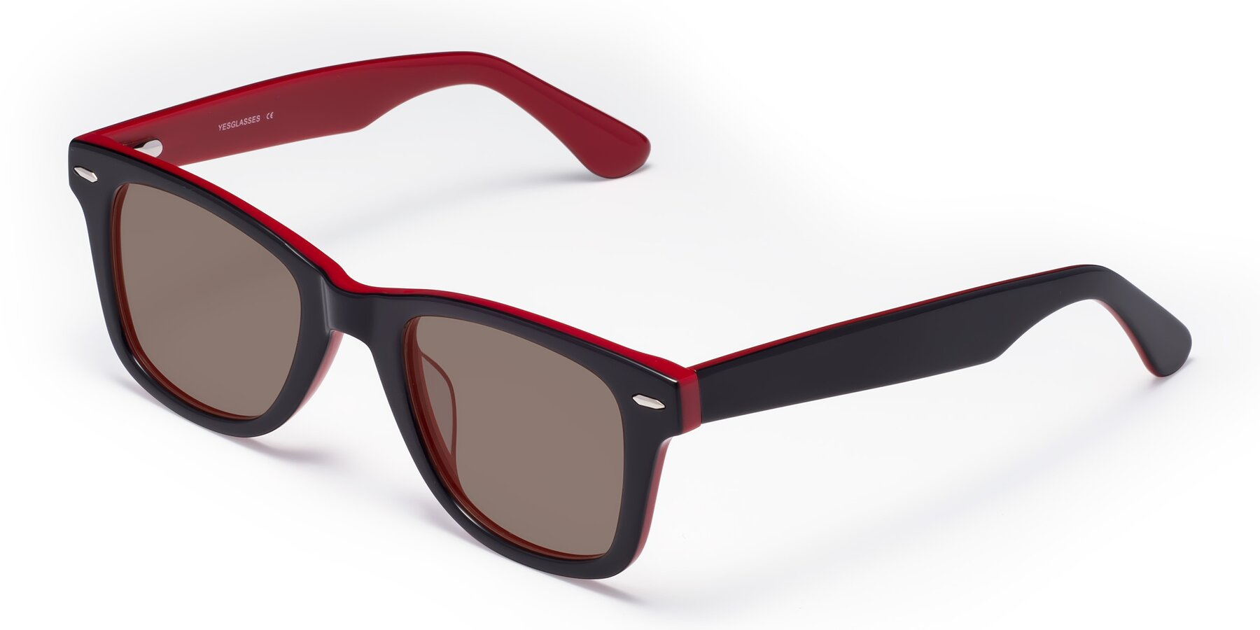 Angle of Rocky in Black-Wine with Medium Brown Tinted Lenses