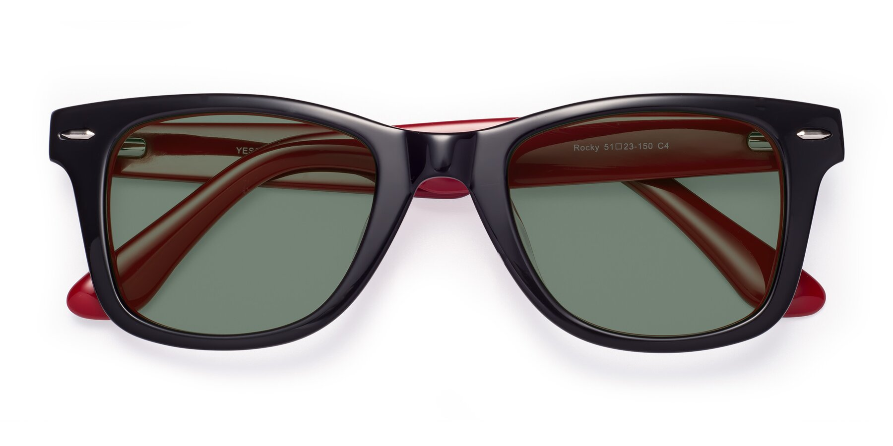 Folded Front of Rocky in Black-Wine with Medium Green Tinted Lenses