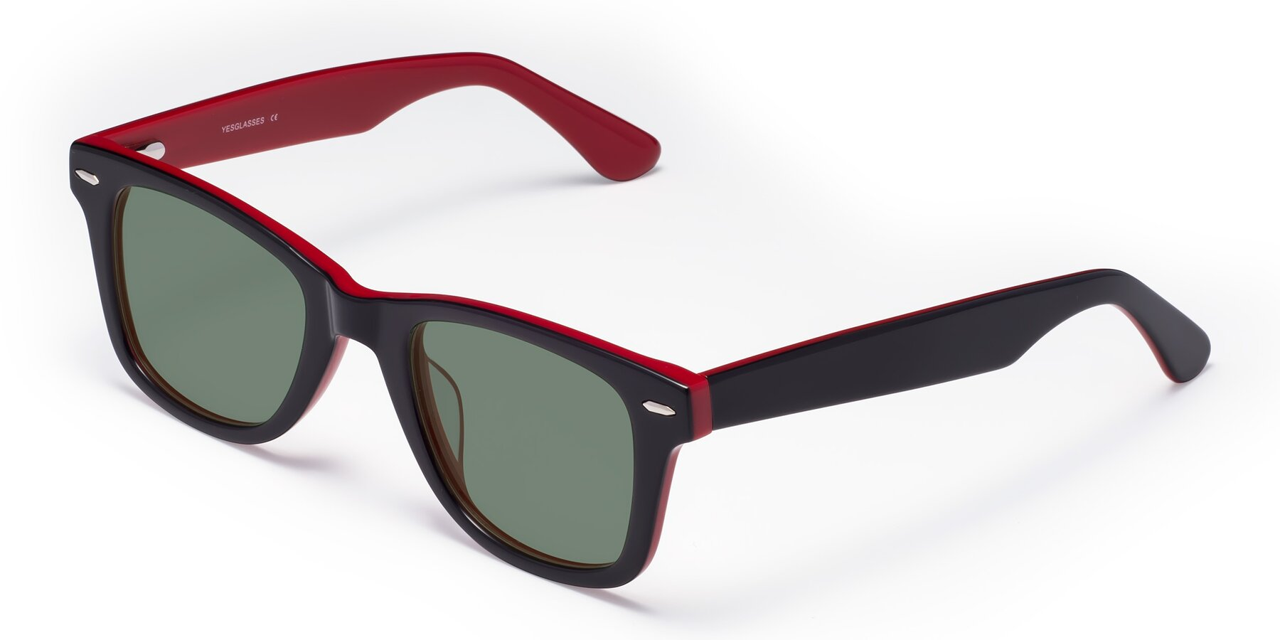 Angle of Rocky in Black-Wine with Medium Green Tinted Lenses