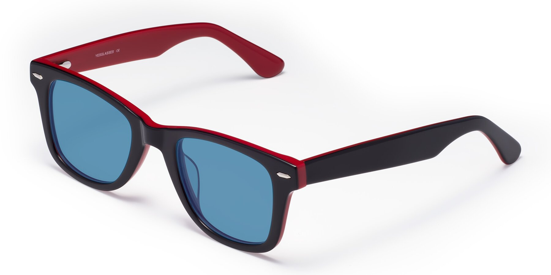 Angle of Rocky in Black-Wine with Medium Blue Tinted Lenses