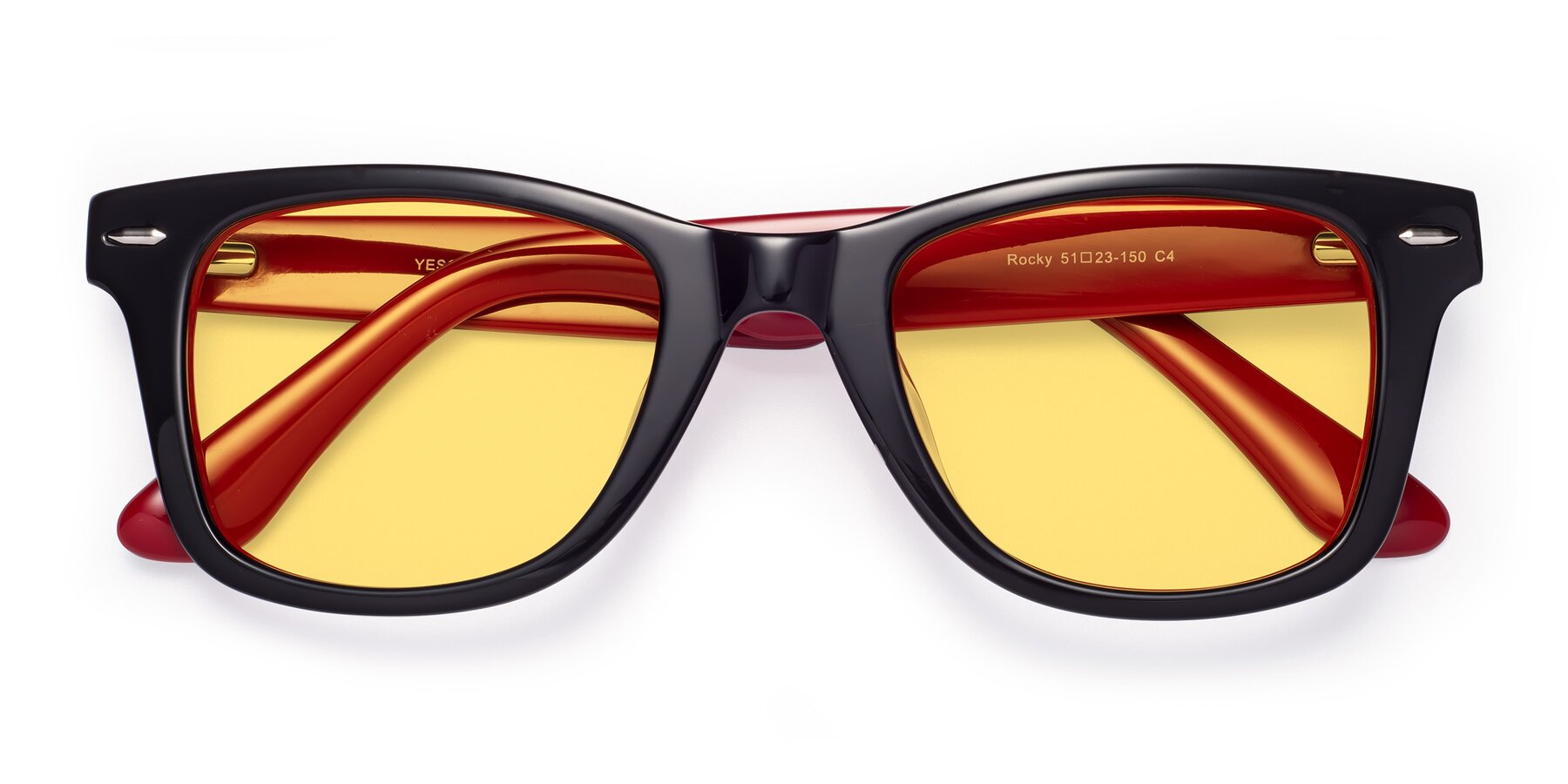 Folded Front of Rocky in Black-Wine with Medium Yellow Tinted Lenses
