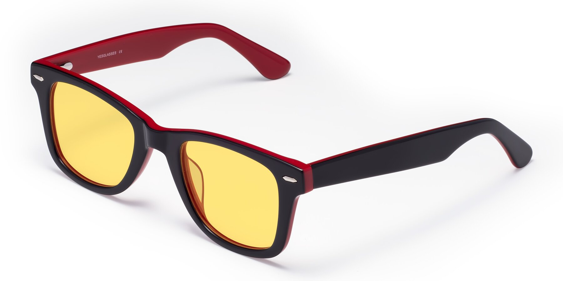 Angle of Rocky in Black-Wine with Medium Yellow Tinted Lenses