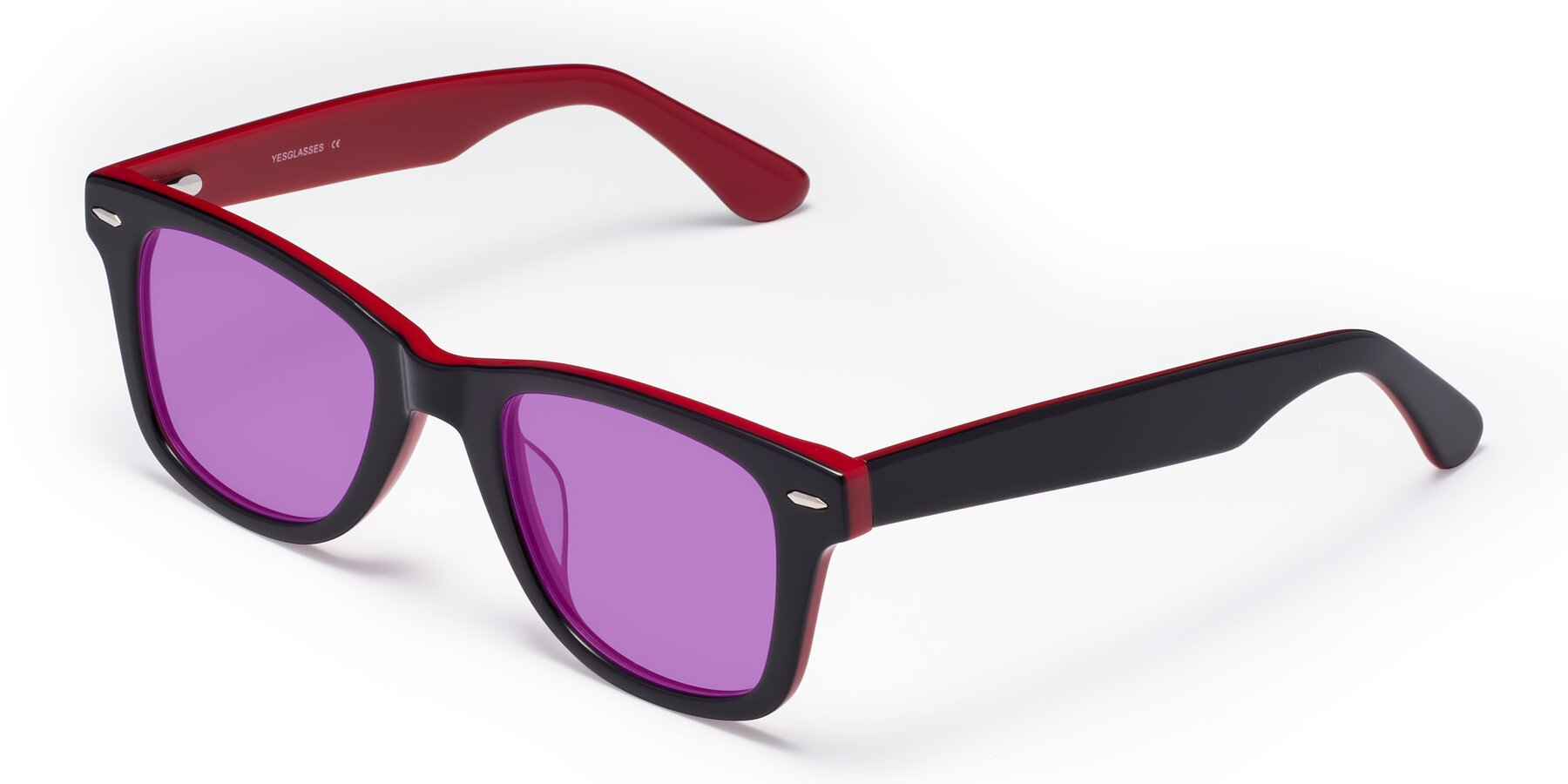 Angle of Rocky in Black-Wine with Medium Purple Tinted Lenses