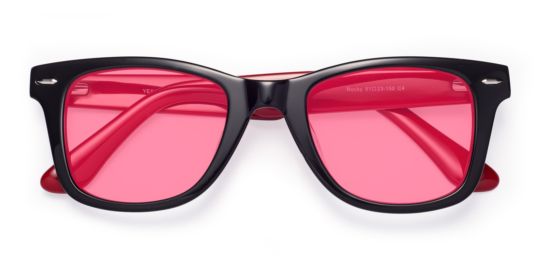 Folded Front of Rocky in Black-Wine with Pink Tinted Lenses