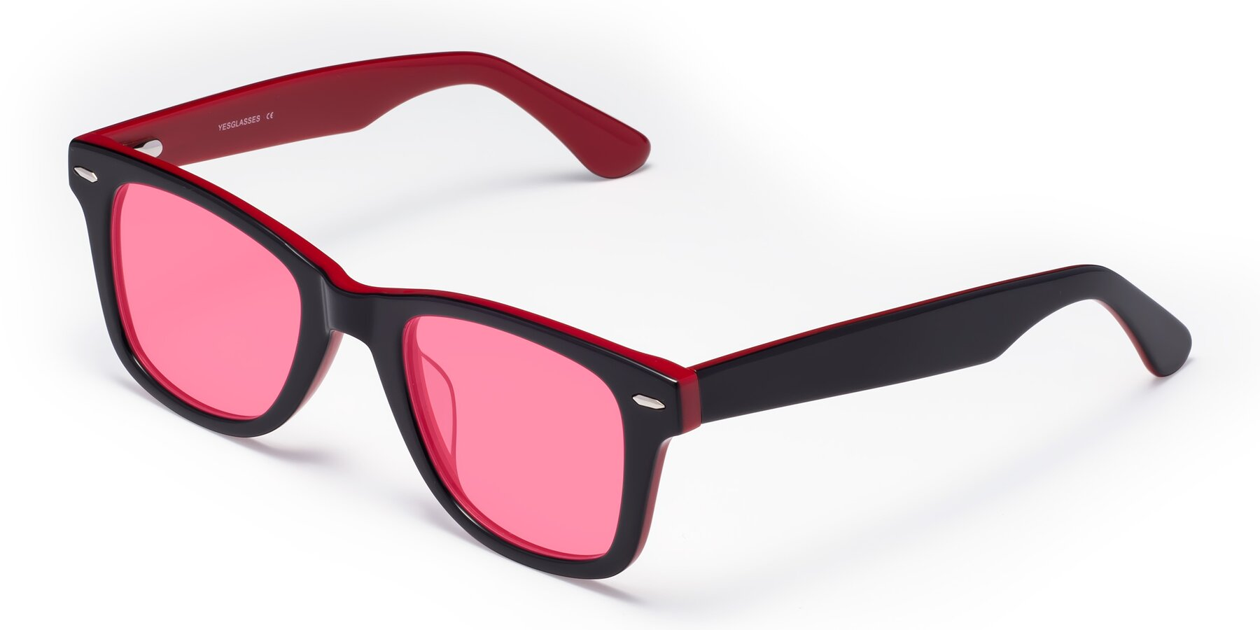 Angle of Rocky in Black-Wine with Pink Tinted Lenses