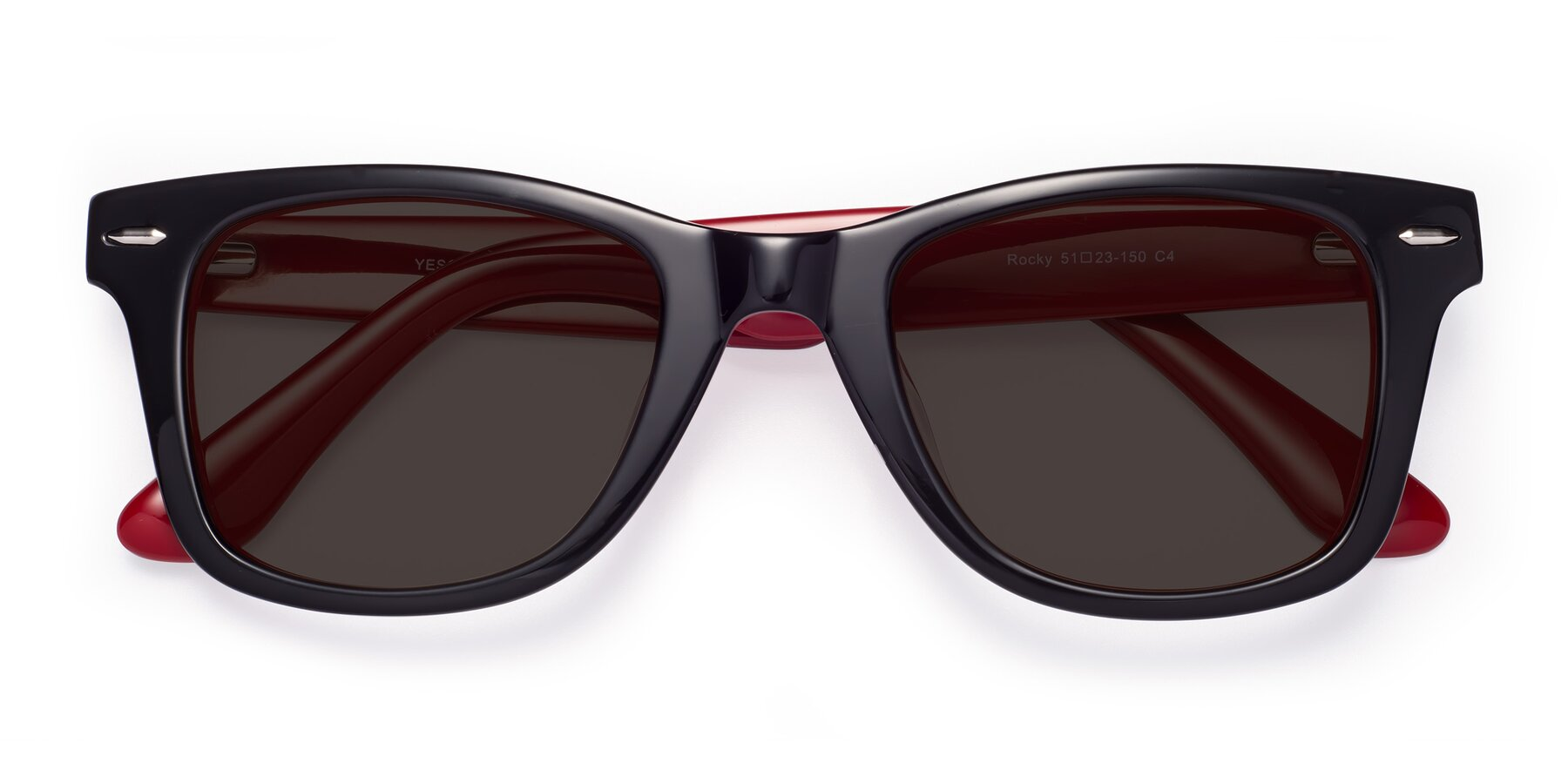 Folded Front of Rocky in Black-Wine with Gray Tinted Lenses