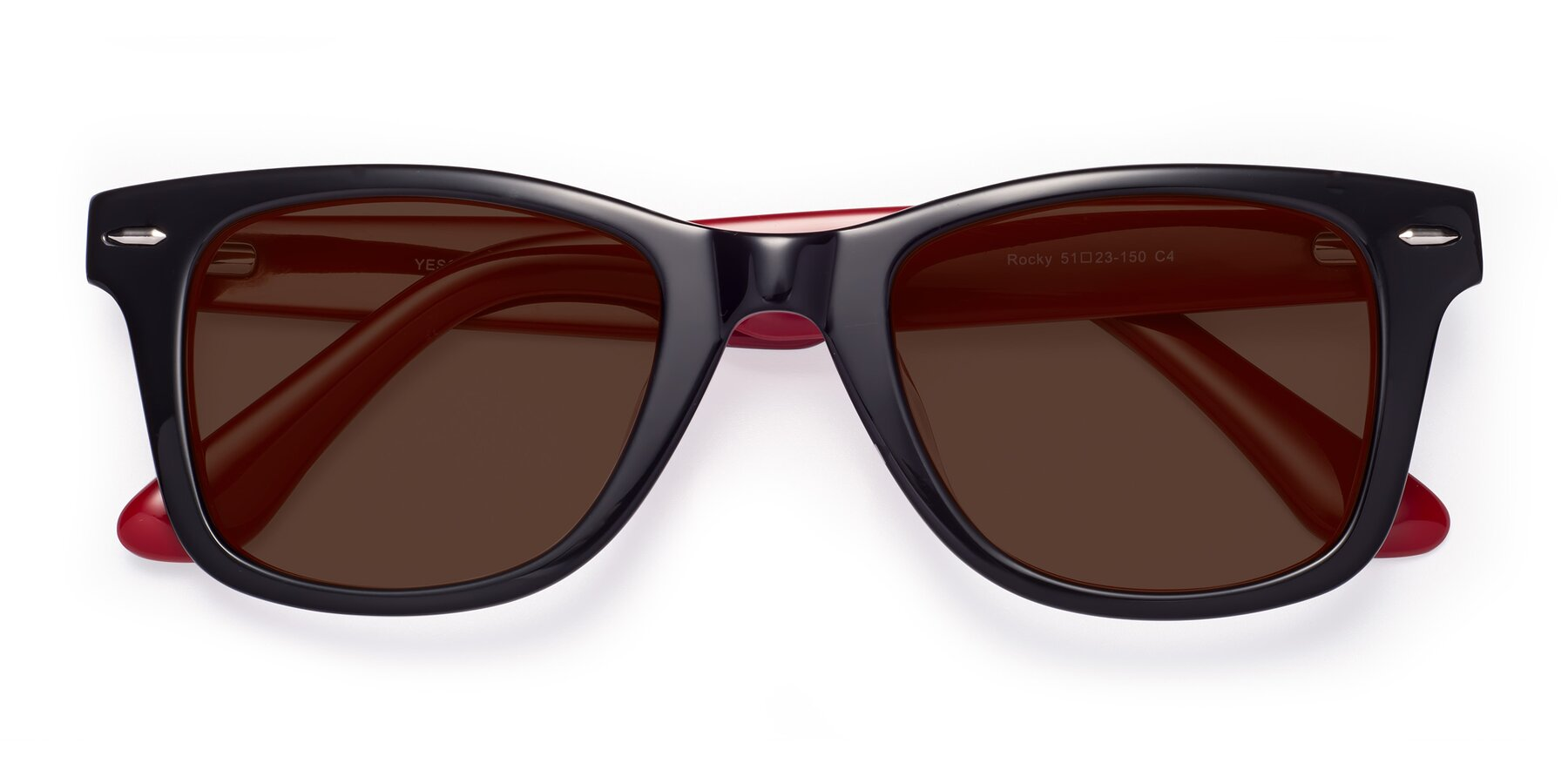 Folded Front of Rocky in Black-Wine with Brown Tinted Lenses