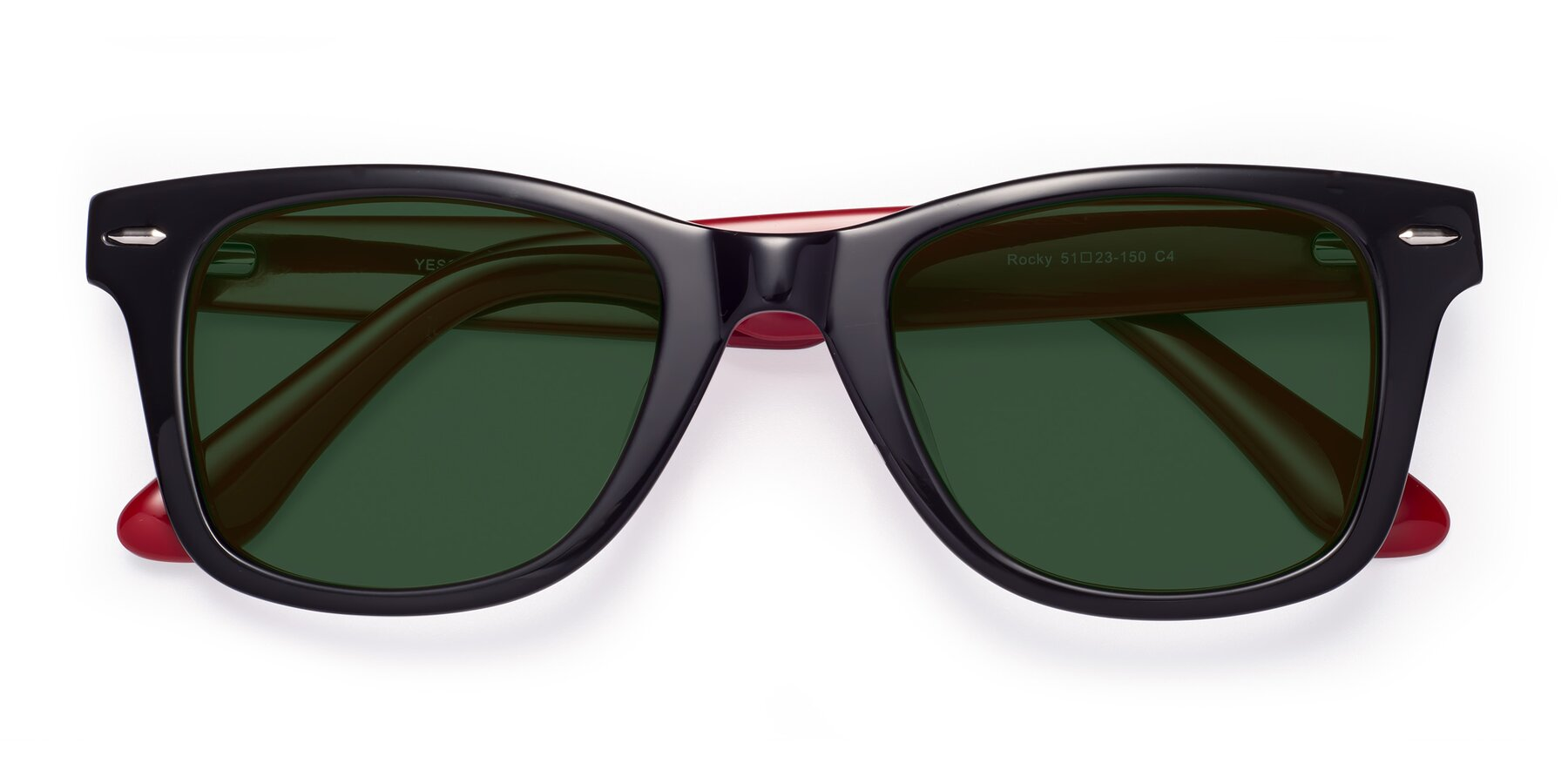 Folded Front of Rocky in Black-Wine with Green Tinted Lenses