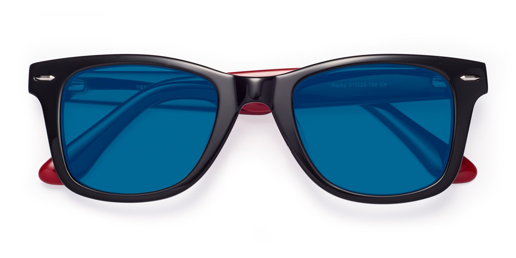 Folded Front of Rocky in Black-Wine with Blue Tinted Lenses