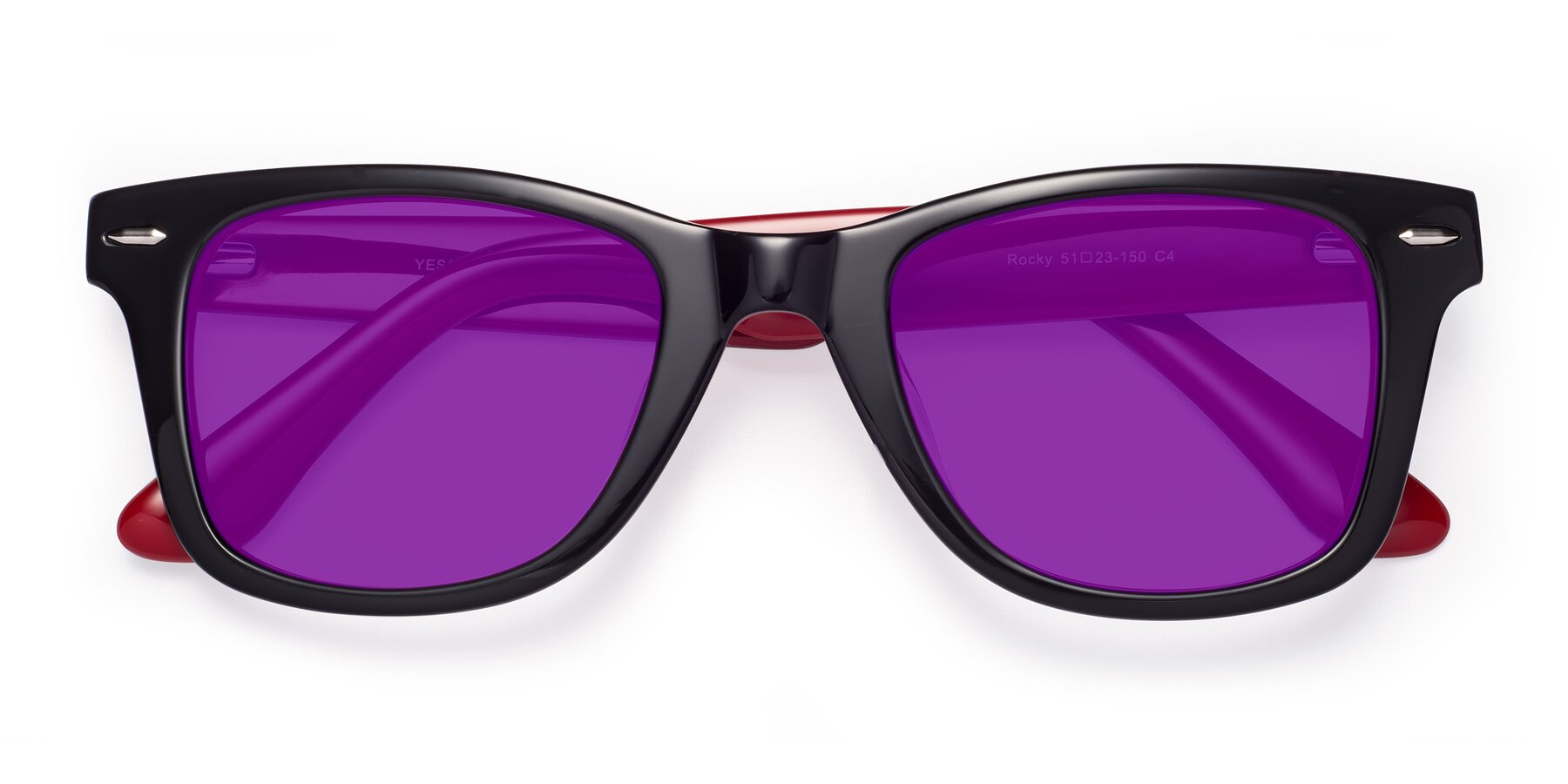 Folded Front of Rocky in Black-Wine with Purple Tinted Lenses