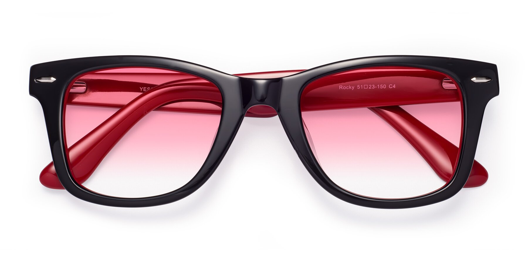 Folded Front of Rocky in Black-Wine with Pink Gradient Lenses