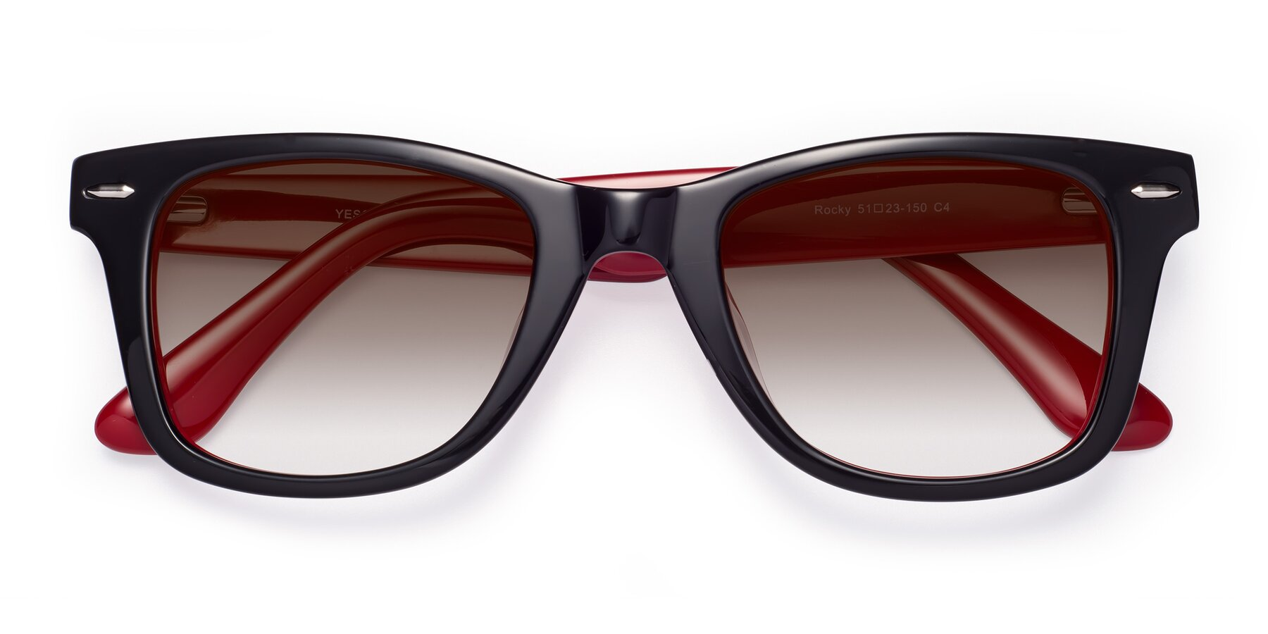 Folded Front of Rocky in Black-Wine with Brown Gradient Lenses