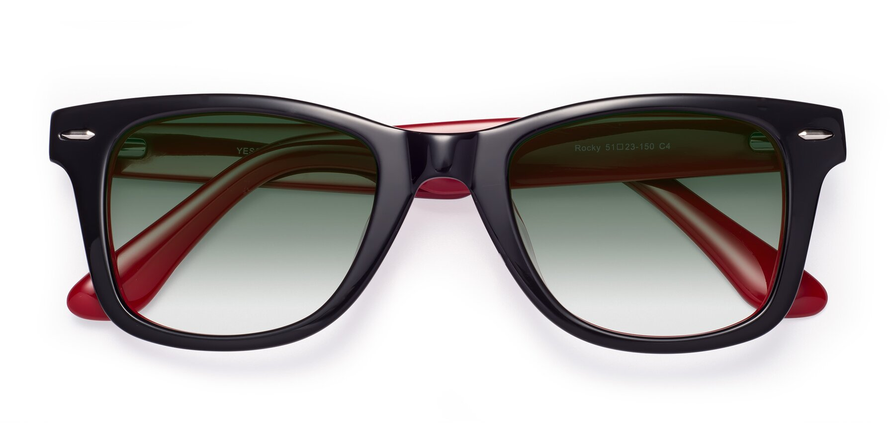 Folded Front of Rocky in Black-Wine with Green Gradient Lenses