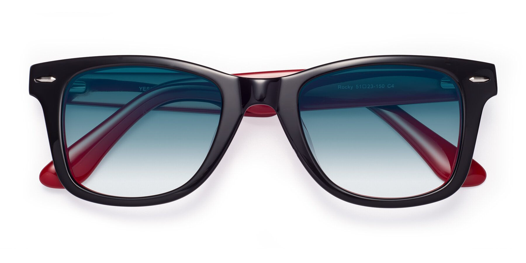 Folded Front of Rocky in Black-Wine with Blue Gradient Lenses