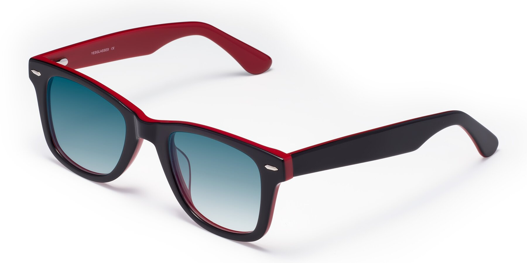 Angle of Rocky in Black-Wine with Blue Gradient Lenses