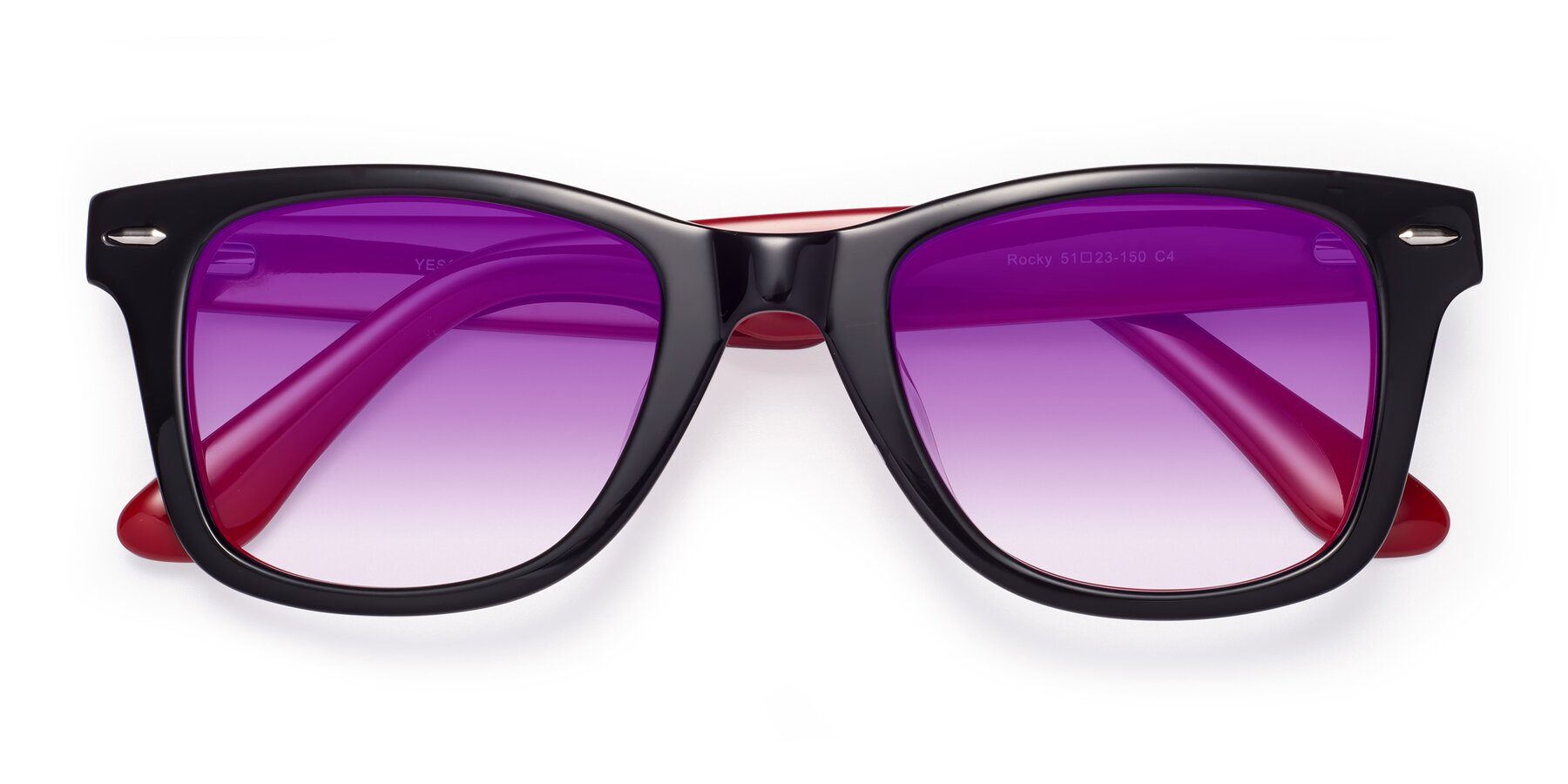 Folded Front of Rocky in Black-Wine with Purple Gradient Lenses