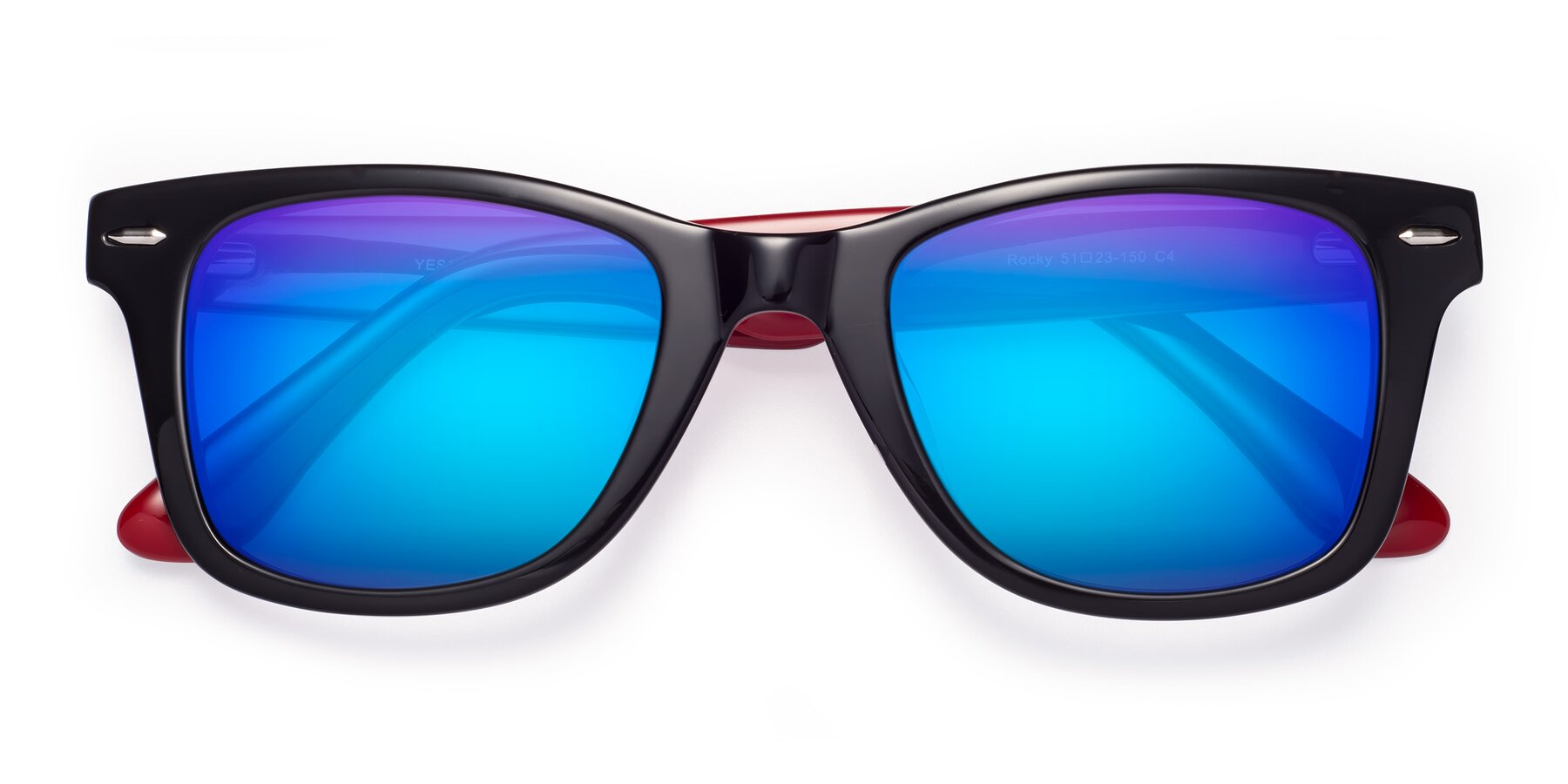 Folded Front of Rocky in Black-Wine with Blue Mirrored Lenses