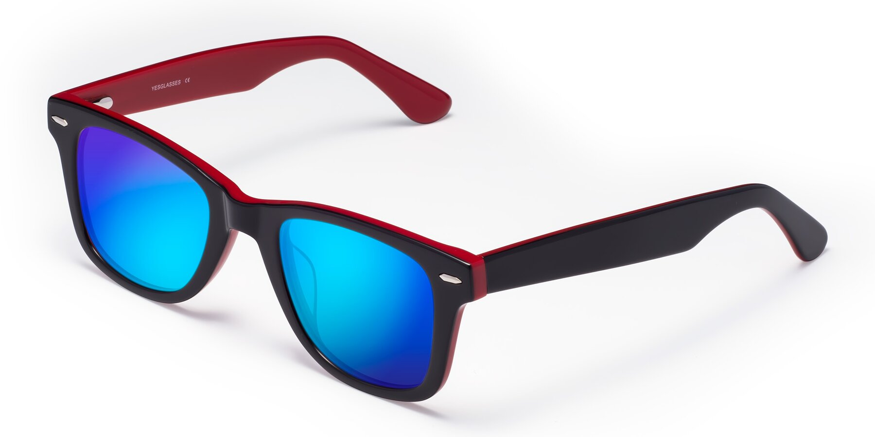 Angle of Rocky in Black-Wine with Blue Mirrored Lenses