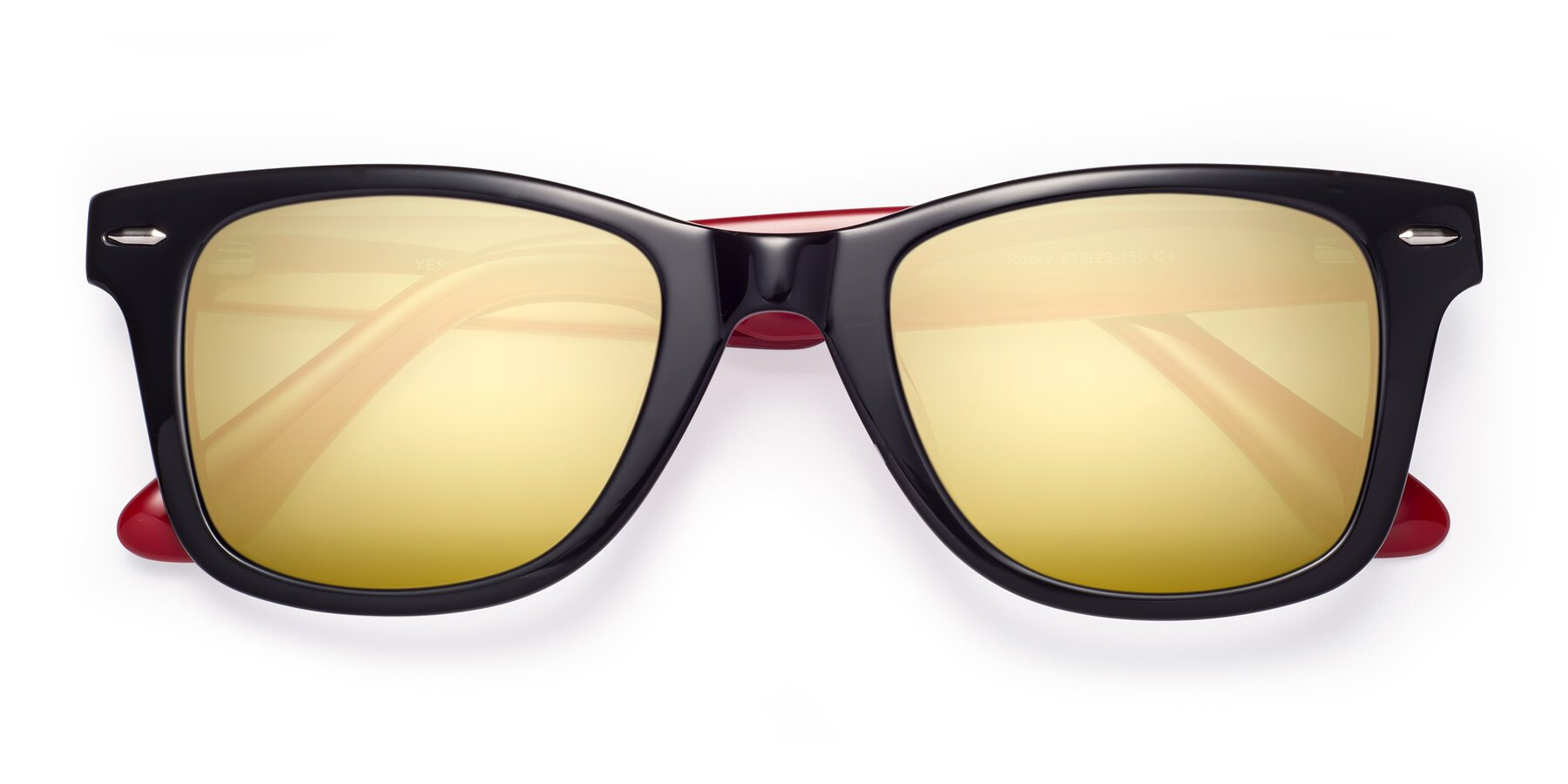 Folded Front of Rocky in Black-Wine with Gold Mirrored Lenses
