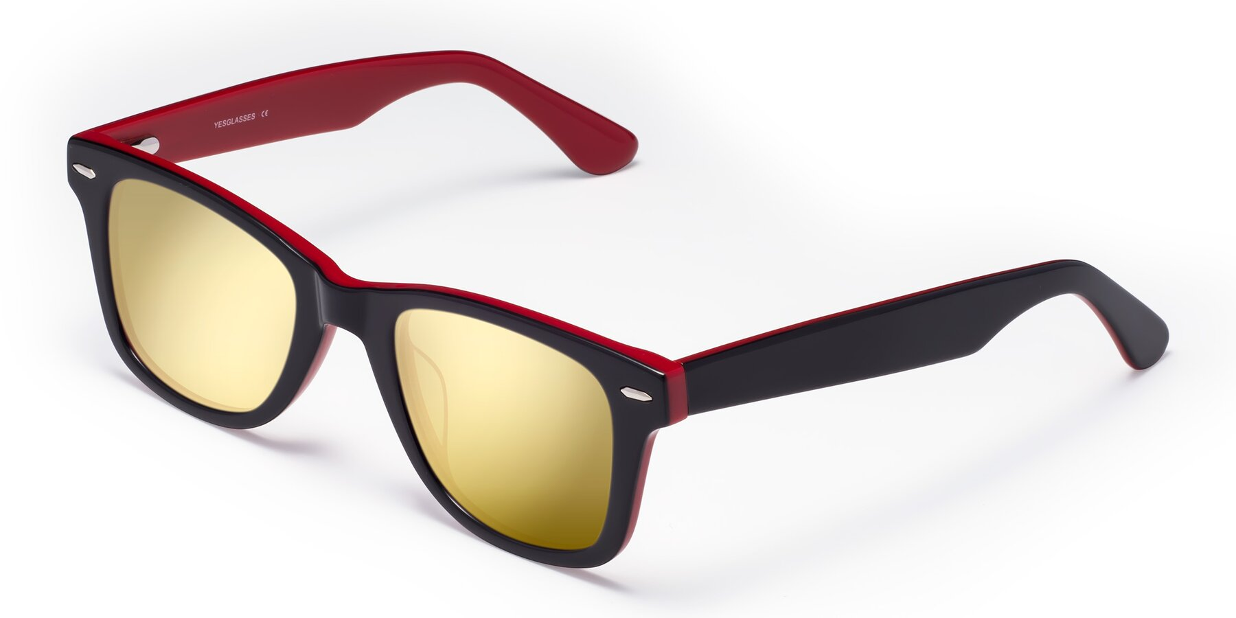 Angle of Rocky in Black-Wine with Gold Mirrored Lenses