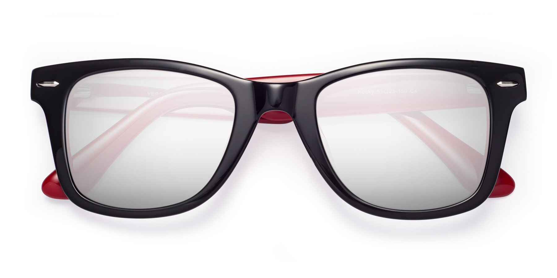 Folded Front of Rocky in Black-Wine with Silver Mirrored Lenses