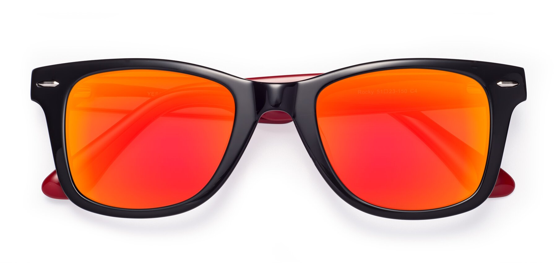 Folded Front of Rocky in Black-Wine with Red Gold Mirrored Lenses