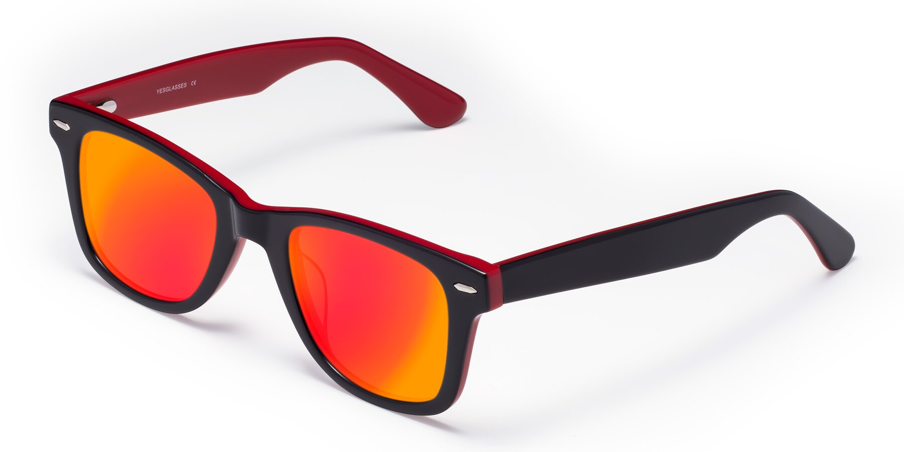 Angle of Rocky in Black-Wine with Red Gold Mirrored Lenses