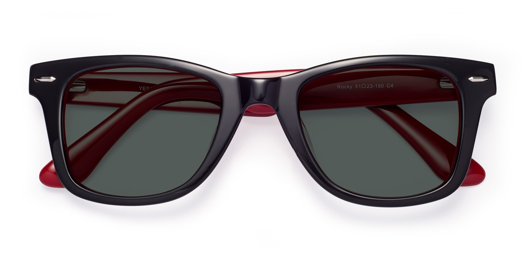 Folded Front of Rocky in Black-Wine with Gray Polarized Lenses