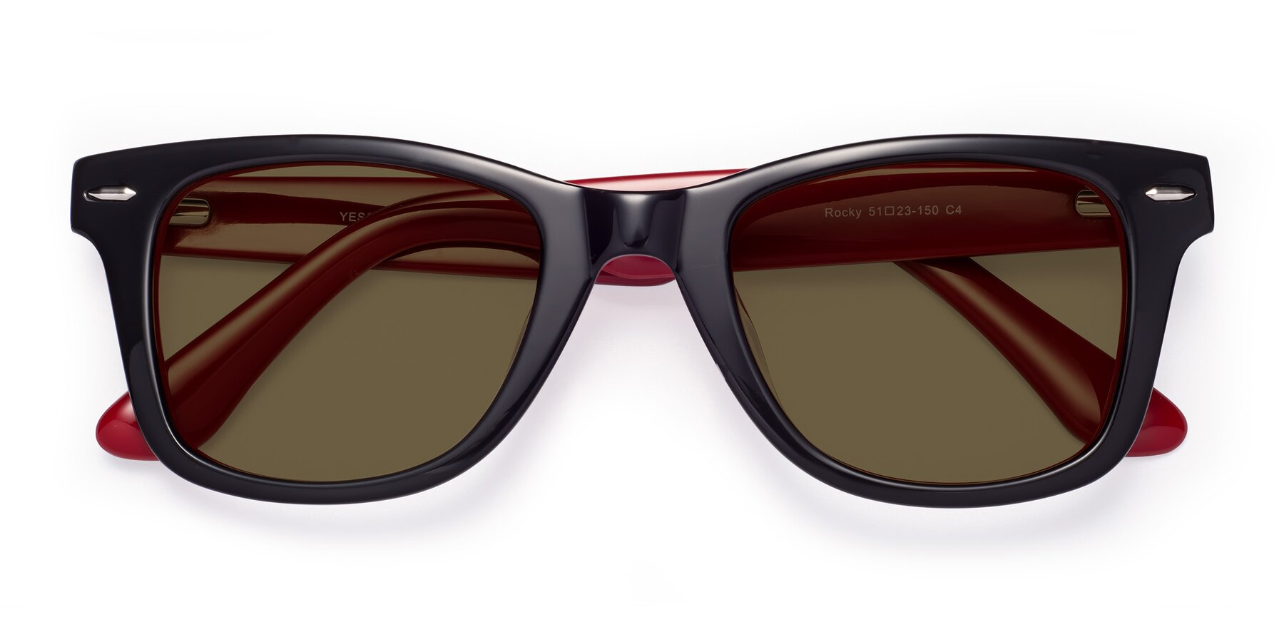 Folded Front of Rocky in Black-Wine with Brown Polarized Lenses