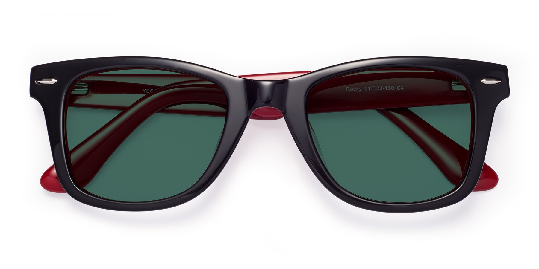 Folded Front of Rocky in Black-Wine with Green Polarized Lenses