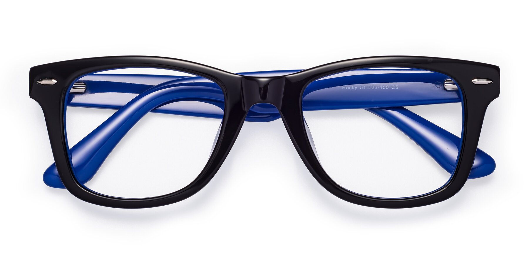 Folded Front of Rocky in Black-Blue with Clear Blue Light Blocking Lenses