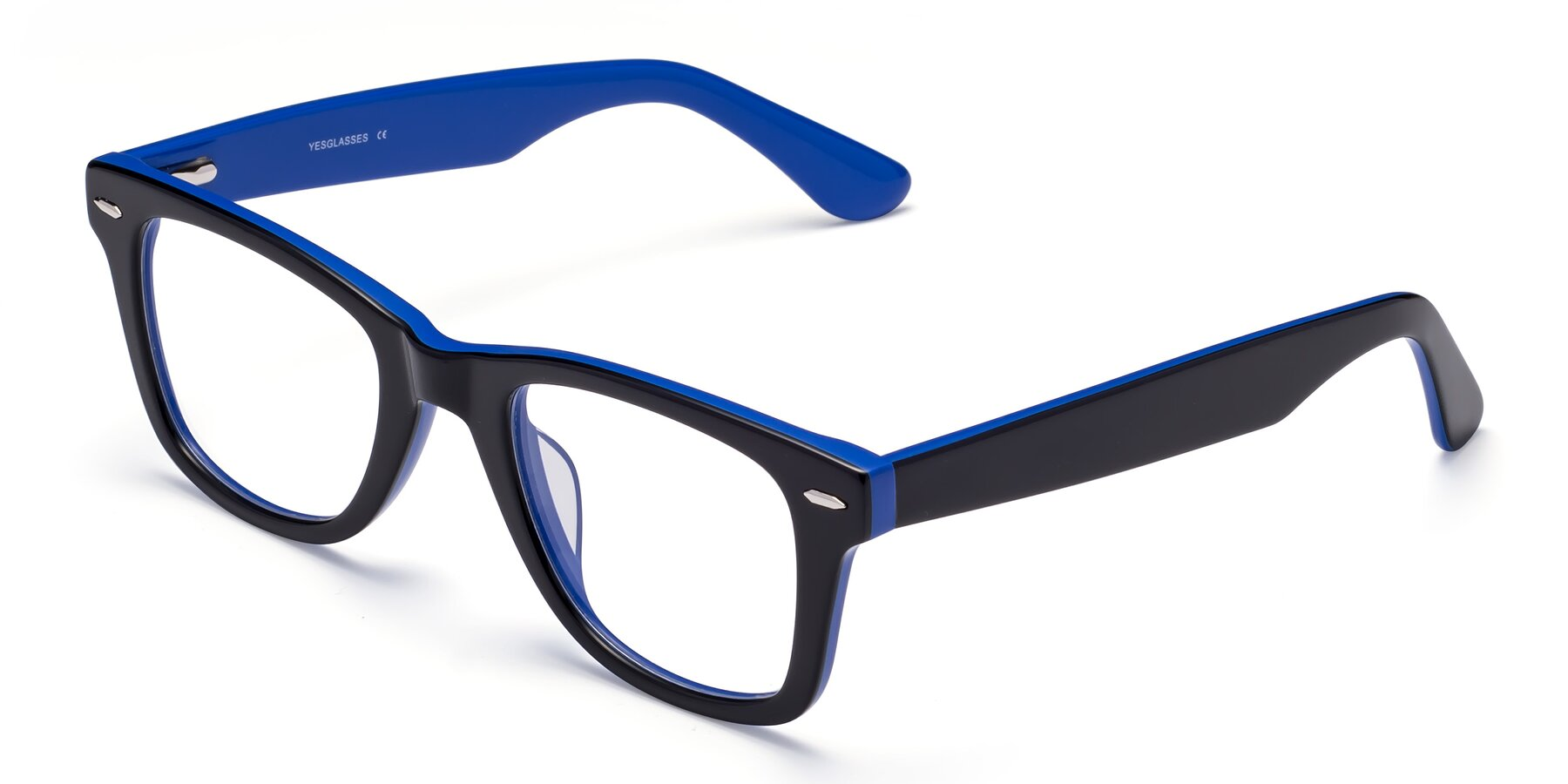 Angle of Rocky in Black-Blue with Clear Blue Light Blocking Lenses