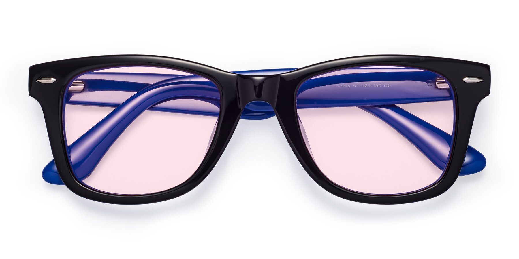 Folded Front of Rocky in Black-Blue with Light Pink Tinted Lenses