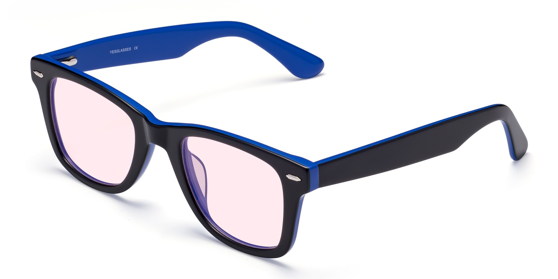Angle of Rocky in Black-Blue with Light Pink Tinted Lenses