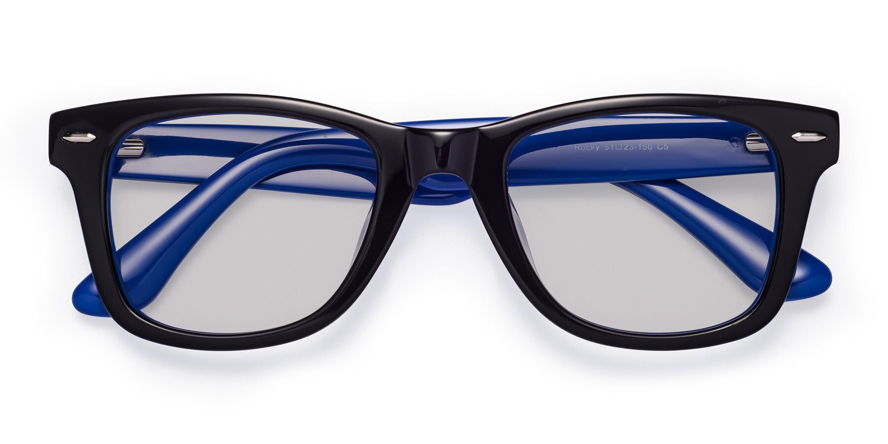 Folded Front of Rocky in Black-Blue with Light Gray Tinted Lenses