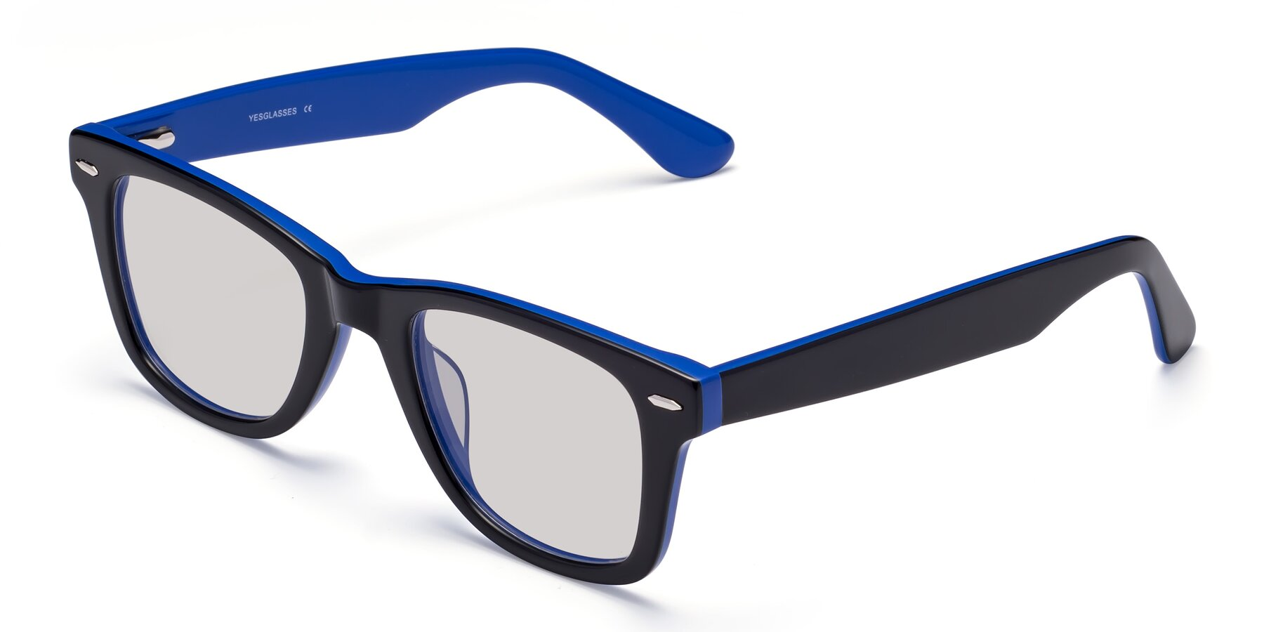 Angle of Rocky in Black-Blue with Light Gray Tinted Lenses